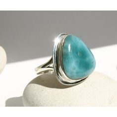 Unique Turquoise Azure Sea Larimar Large Statement Ring Use 25% COUPON... ($129) ❤ liked on Polyvore featuring jewelry, rings, sterling silver jewelry, sterling silver cocktail rings, larimar rings, cocktail rings and boho jewelry