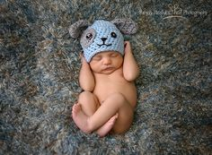 Crochet baby hat-Crochet puppy hat-Photo prop-Choose your colors-boys or girls-Grey-Baby blue. $20.00, via Etsy.