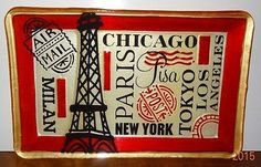 Change Key Tray Glass Paris Eiffel Tower New York Chicago Tokyo Air Mail Plate