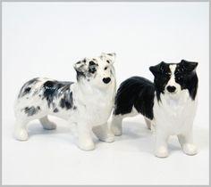 COLLECT DOGS FIGURES ORNAMENT SALT PEPPER BORDER COLLIE