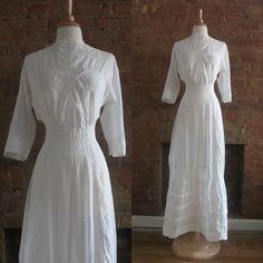 Antique Edwardian Tea Dress by GildedGypsies Tea Dresses, Lace Dresses, Lovely Dresses, Shirt Over Dress, White Cotton, White Lace, Batiste, Tea Gown, Bathing Costumes
