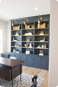 blue office built ins - Knick Knack blue office built ins blue office built ins Built In Shelves Living Room, Built In Desk, Built In Bookcase, Kitchen Bookcase, Kitchen Built Ins, Ikea Billy Bookcase, Home Library Design, Office Interior Design, Office Interiors