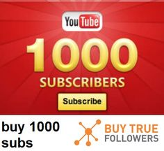 Buy 1000 REAL Youtube Subscribers for the low price of  $64. Have an audience follow you from video to video and build a huge fan base!