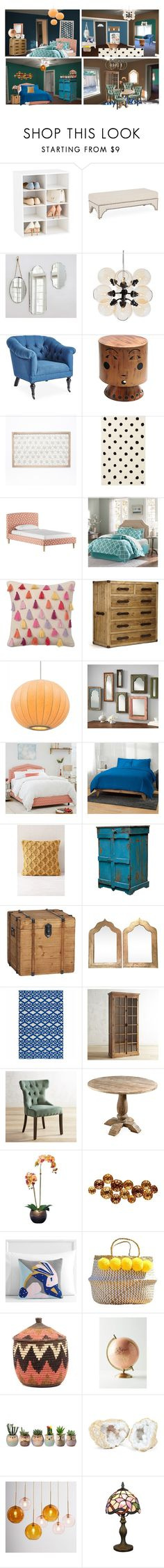 """""""Santorini Blue, Ionian, Sun Bleached Ochre, Silverplate"""" by flapper-shoes ❤ liked on Polyvore featuring interior, interiors, interior design, home, home decor, interior decorating, Pottery Barn, Basset Mirror Company, West Elm and PBteen"""