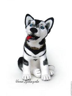 Купить Валяная игрушка собака Хаски Джой. Игрушка из шерсти. Интерьерная игру - темно-серый