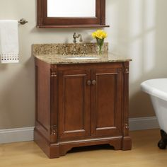 The classic walnut Trevett Vanity for Undermount Sink adds beauty and organization to any bathroom style. With wooden shelving and a striking walnut finish, this vanity provides a gorgeous way to store bathroom necessities. Vessel Sink Vanity, Wood Vanity, Vanity Cabinet, Bathroom Flooring, Bathroom Furniture, Bathroom Sink Units, Bathroom Vanities, Bathroom Updates, Bathroom Ideas