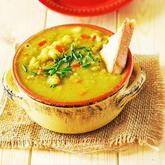 Split Pea Soup (Vegan) Recipe Soups with coconut oil, onions, garlic, celery, carrots, potatoes, green split peas, water, parsley flakes, thyme, dried oregano, basil, bay leaf, sea salt, green onions