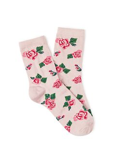 Rose Printed Crew Socks | I like these pretty rose socks, very feminine. | FOREVER21 - 2000084000
