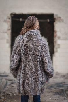 Hand Knit Mohair Sweater Turtleneck Beige Black Unisex Cozyknittings One Size | eBay