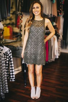 We love this lace dress! Great color for early fall! Pair it with booties! *NOTE: The top layer is the Olive Floral Lace Dress. The bottom layer is our Grey Crochet Lace Cami Dress which is sold out.