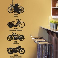 Removable Four Motorcycle Nature Vinyl Wall Paper Decal Art Sticker Q527 on Etsy, $25.88