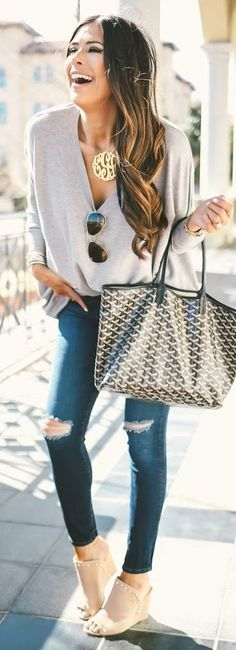 #street #style #womens #fashion #spring #outfitideas | Grey Top + Ripped Denim