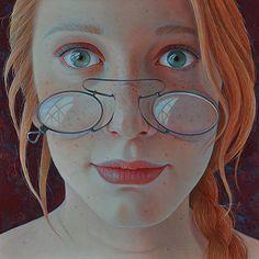 """Ginger"" - Jantina Peperkamp {contemporary figurative artist female redhead freckles spectacles woman face portrait painting} jantina-peperkamp.nl"