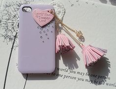 Finished case- pink leather heart with swarovski crystal
