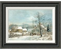 Global Gallery 'New England Winter Scene' by GH Durie Framed Painting Print | Wayfair