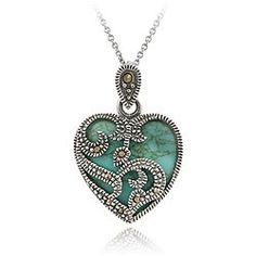 Sterling Silver Marcasite and Turquoise Heart Pendant