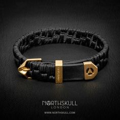 New Release! | Handcrafted from the finest Italian leather, our Alawo Bracelet in Black & Gold is embellished with intricate hand stitched embroidery; a unique bracelet sure to add an element of style & sophistication to your attire. | Available now at Northskull.com [Worldwide Shipping] #Luxury #Jewelry #MensAccessories
