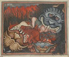 British Library, Add 17333 f43r. Apocalypse (Revelation) with commentary by Berengaudus, in parallel Latin and French. c1320-1330