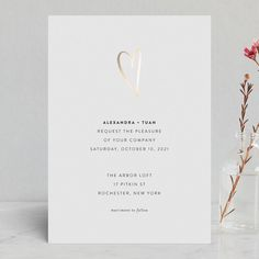 """""""Outline"""" - Modern Foil-pressed Wedding Invitations in Ash by Up Up Creative."""