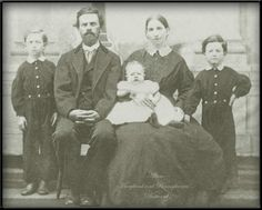 """Family of Andrew Kimmins Allum (1841-1918), photo taken at Wallace & Bane, Waynesburg, Greene co., PA, """"1869"""" written on back.  Infant may be Jonathan Edison Allum (born Dec 1868) or could be sister Lydia (b. 1866, d. July 1868)"""
