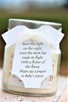 Baby Shower Candle Party Favors ~ Burn this light on the night once the stork has made its flight ~ Onesie Thank You Gift Tags ~ www.kendollmade.com #ad #babyshowergifts