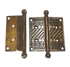 Beautiful Steel With Bronze Plating Geometric Hinges 4 x 4 Lock Set, Oriental Pattern, Antique Hardware, Door Hinges, Plating, Bronze, Steel, Antiques, Etsy