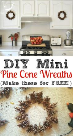These DIY mini pine cone wreaths are perfect to add to your holiday home decor. They are easy to make and completely free using items found in your back yard!