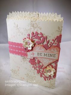 Valentine treat bag using the Bloomin Hearts Thinlits and Bloomin Love stamp set by Stampin' Up! - Spring/Summer 2016