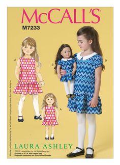 """M7233 Children's/Girls'/18"""" Dolls' Matching Drop-Waist Dresses K2-8"""