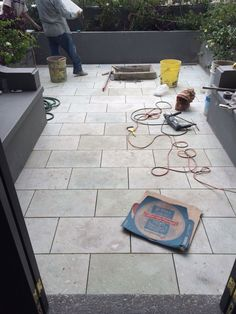 Process: installing green Cantera pavers on rooftop patio. Rooftop Patio, Outdoor Furniture, Outdoor Decor, Front Porch, Condo, Green, Modern, Projects, Home Decor