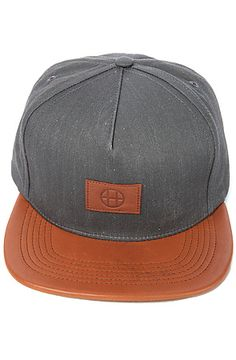 HUF The Leather Circle H Snapback in Grey