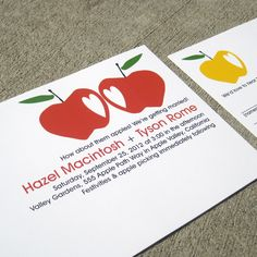 Modern Wedding Invitation Apples