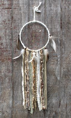 Large Dreamcatcher Skeleton Key Cream green and by VagaBoundPeople, $35.00 #dreamcatcher