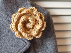 mustard crochet flower brooch cabbage rose by BabanCat on Etsy Crochet Motif, Crochet Flowers, Cabbage Roses, Flower Brooch, Flower Patterns, Diy Fashion, Mustard, Folk, Challenge