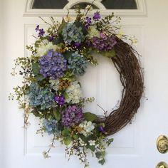 Spring Wreath-Hydrangea Wreath-Spring Wreath for Door-Summer Wreath-Easter Wreath-Provencal Wreath-French Country Wreath-Garden Wreath