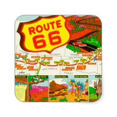 Map of Route 66 from Los Angeles to Chicago Stickers