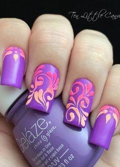 Neon Flourish Nail Design