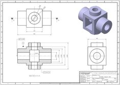 : How to make a part on Solidworks, Exercice Isometric Drawing Exercises, Autocad Isometric Drawing, Mechanical Engineering Design, Mechanical Design, Cad 3d, Orthographic Drawing, Interesting Drawings, Drawing Sheet, 3d Cnc