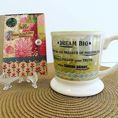 BlissfulFavs.com Great #giftidea for anyone who loves #coffee #coffeetime #coffeelover #christmas is coming! Part of the #kellyraeroberts collection. #free mini #notebook comes with #purchase #freeshipping #dreambig