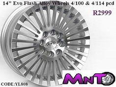 14 inch Evo Flash Alloy Wheels 4by100 and 4by114 pcd