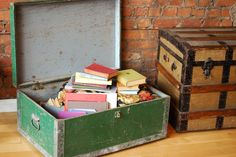 Love this look. Old trunk filled with pretty books.   From beaux-mondes.com