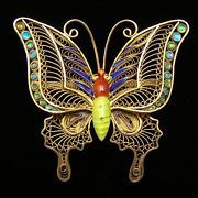 """Butterfly Vintage Enamel Brooch Vermeil Filigree Silver Chinese Export 2"""" Large/77ppp"""
