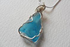Morning sky blue sea glass necklace - 18  sterling silver chain & wire