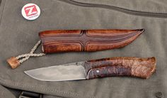 Roman Stoklasa Knives  Lame de 4mm sandwich O2/1045 Loupe d'érable stabilisée / cuivre 210 mm - 138 gr