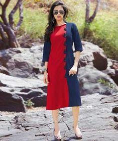 Red Cotton Readymade Kurti 126647