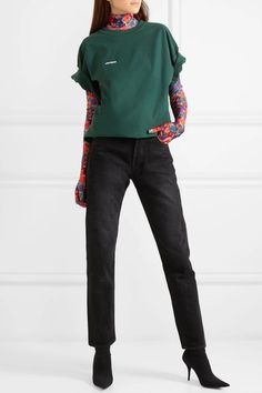 Vetements - Oversized embroidered cotton-jersey T-shirt How To Look Better, That Look, Green Cotton, Autumn Fashion, Sweatpants, Sweatshirts, Sweaters, T Shirt, Ootd