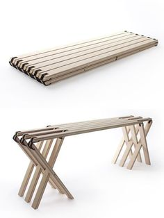 "63 Grad (""63 Degrees"") is the name of this folding bench done by Angelina Barkschat, Finn Blumel and Severin Arnold, all students at Germany's Muthesius Academy of Fine Arts and Design. It's not clear if it's meant to be used indoors or out; that many feet would probably present a..."