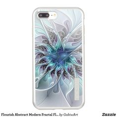 Flourish Abstract Modern Fractal Flower With Blue Incipio DualPro Shine iPhone 7 Plus Case