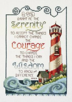 Janlynn Cross Stitch Kit, Serenity Lighthouse: A piece of American history and a mainstay for farmers across the world. This nostalgic Counted Cross Stitch design by Stoney Creek is Made in the USA by Janlynn. Cross Stitching, Cross Stitch Embroidery, Embroidery Patterns, Hand Embroidery, Learn Embroidery, Needlepoint Patterns, Cross Stitch Designs, Cross Stitch Patterns, Serenity Prayer