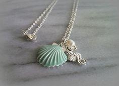 Nautical beach themed aquamarine sea shell sea horse by ktnunna, $16.00